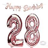 SNOWZAN Ballon d'anniversaire 28 ans Or rose Pour fille Chiffre 28 Ballon géant à l'hélium numéro 28 Grands chiffres 28 ans Guirlande Happy Birthday Guirlande de 80 cm Grand chiffre 28 Pour fête