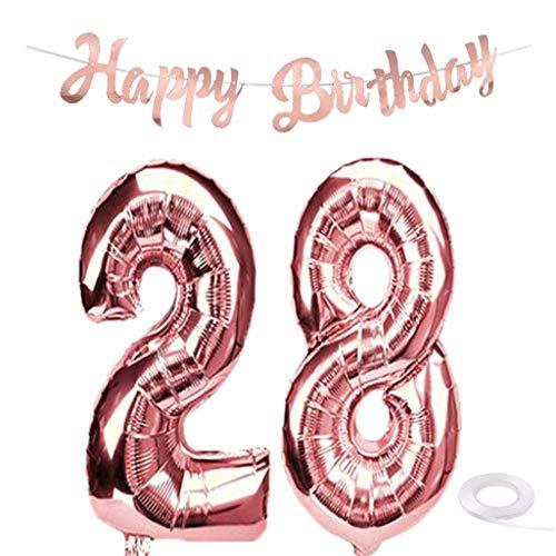 SNOWZAN Globo gigante de 28 cumpleaños en oro rosa para niña, número 28, globos de helio con número 28, globos con de 28 años, XXL, guirnalda de 32 pulgadas, número gigante 28, para fiesta