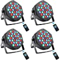 DJ Par Lights for Stage, 36x1W LED RGB 7 Channel Uplights Indoor with Sound Activated for DJ KTV Disco Party&Wedding Concert Light, DMX and Remote Control Lighting?4pack?