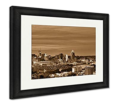 Ashley Framed Prints, Cincinnati Ohio And Covington Kentucky Sit On Either Side Of The Ohio River
