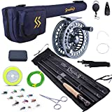 Sougayilang Fly Fishing Rod and Reel Combo, 4 Pieces Ultra Lightweight Portable Fly Rod and CNC Machined Aluminum Alloy Matte Reel Complete Starter Package with Rod Bag