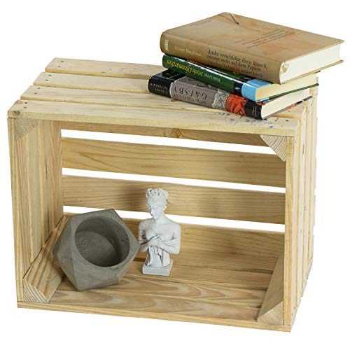 LAUBLUST Große Vintage Holzkiste - 40x30x25cm, Natur, Neu, Unbenutzt | Möbel-Kiste | Wein-Kiste | Obst-Kiste | Apfel-Kiste | Deko-Kiste aus Holz