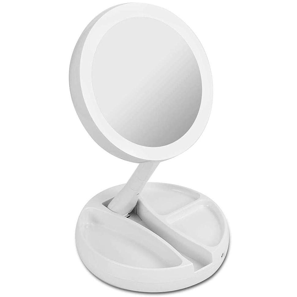 維持雰囲気四1個 折りたたみ式 化粧用鏡 両面鏡 化粧鏡 卓上 拡大鏡 等倍と 360°回転 高さ調整可 USB 10倍拡大鏡