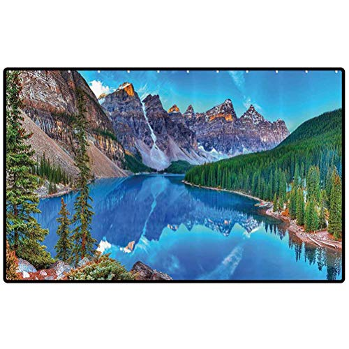Lake House Decor Collection Throw Rug Moraine Lake Sunrise in Banff National Park Clear Sky Reflection Colorful Picture Non Slip Entryway Indoor Outdoors Mats