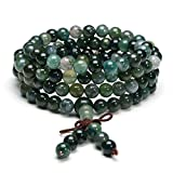 JOVIVI 6mm Natural Moss Agate Stone Healing Gemstone 108 Mala Prayer Beads Stretch Bracelet Necklace
