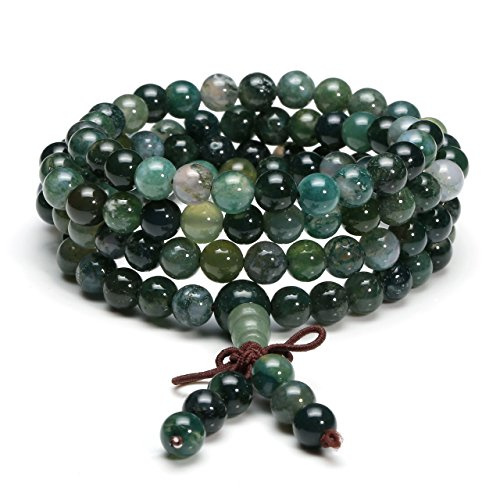 Jovivi 6mm Natural Moss Agate Stone Healing Gemstone 108 Mala Prayer Beads Stretch Bracelet Necklace
