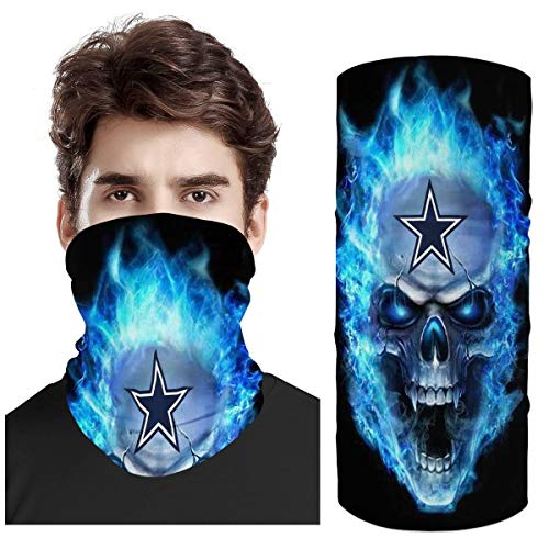 Amlgbed Balaclava Face Mask Football Team Logo Neck Gaiter Sports Fans Headwrap Face Cover Sun UV Protection Headband Multifunctional Scarf for Dust, Outdoors, Festivals, Sports (Dallas_Cowboys)