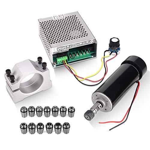 500W Luftgekühlten 0.5kw Mini Spindle Motor + 220V MACH3 Geschwindigkeit Power Converter + 52mm Clamp + 13pcs ER11 Collet für CNC Gravieren Maschine