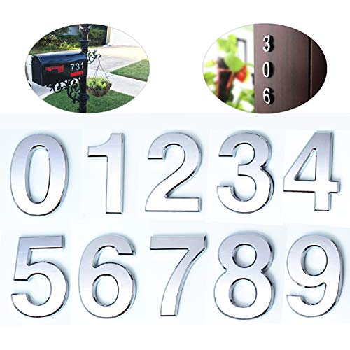 10 Pcs Mailbox Numbers 0-9, 2 Inch Door Address Number Stickers, Silver Shiny, Metal Plating Process, by FANXUS.(2 inch 0-9, Silver)