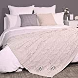 Amélie Home Cable Knit Decorative Cream Throw Blankets for Couch, Soft Cozy and Lightweight, 50'' x 60''