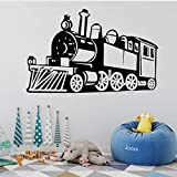 Steam Train Wandaufkleber Abnehmbare Wandtattoo Zug Wandaufkleber Dekoration Wohnzimmer Kid Boy Zimmer Wandposter Schwarz M 30Cm X 47Cm