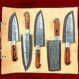 Set di coltelli da cucina, lama damascata con custodia in pelle, coltello da chef in acciaio damascato, coltello da cucina da campeggio, posate da barbecue, set regalo | Kitchen Chef Knives | DCS01