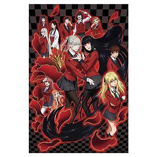 Vinctik 6&Fox Anime Kakegurui Poster Jabami Yumeko Kakegurui Gambaling School Wall Poster Collection Home Room Decor Anime Scroll Painting Art(11.8 inch×17.7 inch Red)