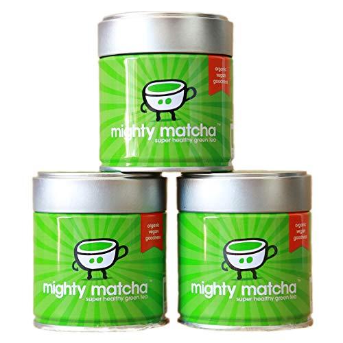 Mighty Matcha Te Verde Matcha Ecologico - Te Matcha Ceremonial 100% Organico - Premio de Oro Great Taste - Infusion Natural Quemagrasa - 3 x 30g