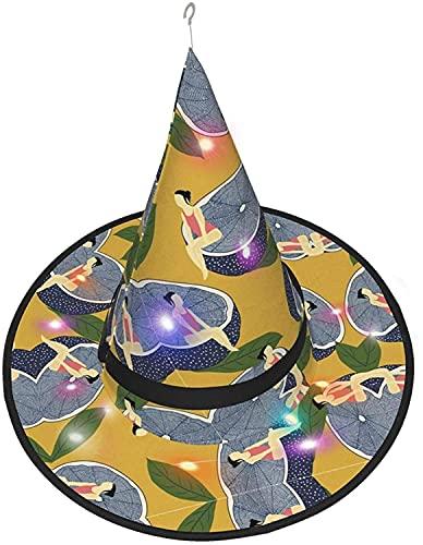 KINGAM Sombrero de bruja Limón Chica Patrón LED Luminoso Cap Bruja Sombrero Cadena Luces Halloween Decoración para Patio Exterior Interior Árbol