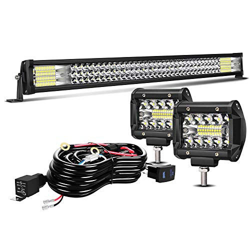TURBO SII 32' LED Light Bar Triple Row 441W Flood Spot Combo Beam Led Bar W/ 2Pcs 4in Off Road Driving Fog Lights with Wiring Harness-3 Leads for Jeep Trucks Polaris ATV Boats Lighting