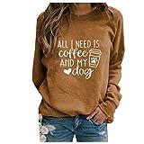 CCOOfhhc Sweat-shirt pour femme sans capuche, pull à manches longues, imprimé lettre, T-shirt...