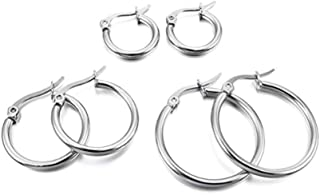 NiceWave 3 Pairs Women Earring Hoops White Gold Polished Titanium Steel Classic Simple Circle Flattened Hoop Earrings in Different Sizes Creative Design