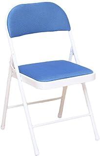 UCYG Silla Plegable Cocina Ligera Metal, Sillas Plegables Oficina Camping Jardin Exterior, Carga Máx 150 kg, 82x45x45cm (Color : Blue)