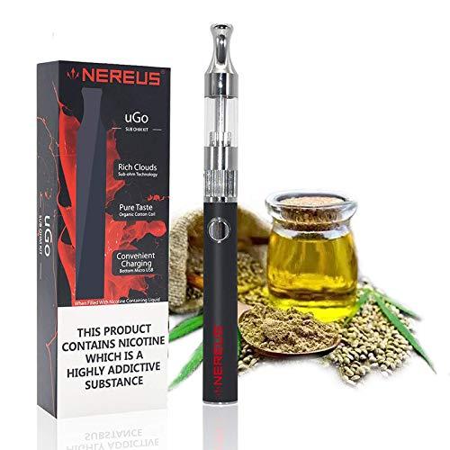CBD öl Vaporizer - NEREUS Hanföl vape - Hanföl Verdampfer,vape für Cbd, E Saft, e Flüssigkeit,Patrone (1,5 ml) Einfache Bedienung mit LED-Anzeige USB, Ladekabel, Nein Nikotin (Schwarz)