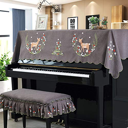 Find Bargain Forgiven Fashion Piano Cover Little Deer Paradise Pattern Piano Dust Cover with Bench C...