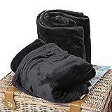 BCASE Pack 2 Manta de Microfibra de Felpa, Suave y Cómoda, 100% Poliéster, 130x160 cm, para Sofá o Cama, Ideal para Vacaciones y Viajes en Avión, Camping, Coche, etc, En Color Negro