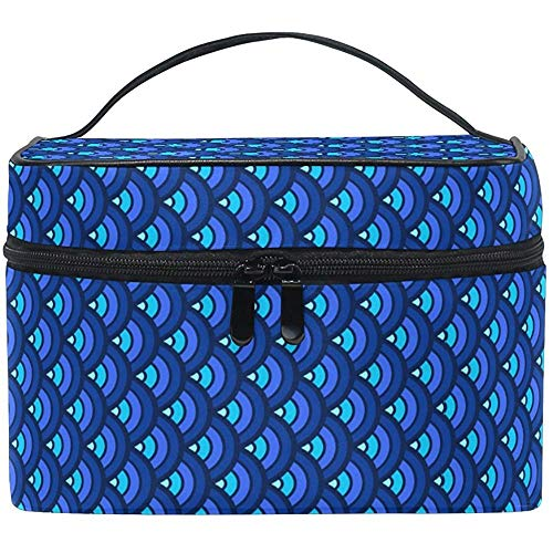 Trousse de maquillage Blue Fish Scales Travel Cosmetic Bags Organizer Train Case Toiletry Make Up Pouch