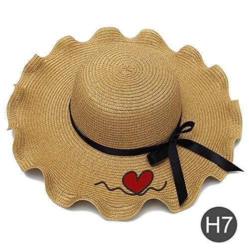TIANFGW Sombrero para el Sol Bordado Personalizado Personalizado Logotipo Nombre Mujeres Sombrero de Sol Sombrero de Paja de ala Grande Sombrero de Playa al Aire Libre Hoja de Loto de Verano Corazón