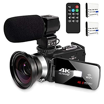 Video Camera with Microphone 4K Camcorder Digital Video Recorder YouTube Vlogging WiFi Camera 48.0MP Webcam for Live Streaming KOMERY Video Camera 16X Digital Zoom with Remote Control by KOMERY