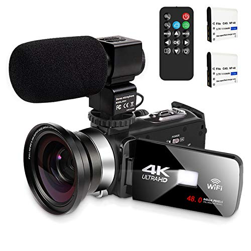 Video Camera with Microphone 4K Camcorder Digital Video Recorder YouTube Vlogging WiFi Camera 48.0MP Webcam for Live Streaming KOMERY Video Camera 16X Digital Zoom with Remote Control