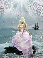 家族のピンクのドレスのための5dDiyダイヤモンド絵画装飾美しいダイヤモンドダイヤモンド刺繡ホームギフト壁ステッカー40x50cm