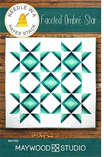 """Needle in a Hayes Stack Quilt Pattern - Faceted Ombre Star (Finished Project Size is66"""" x 66"""")"""