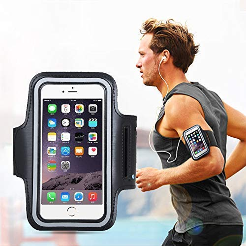 LXCN® Adjustable Sports Running, Jogging, Gym, Yoga, Aerobics, Cycling Anti-Slip Ultra Light Weight Armband Mobile Holder Compatible with iPhone & Other Phones (Size up to 5.7 inch)