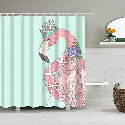 WTL Rideaux de douche Rideaux de douche Creative Flamingo Pattern Waterproof Quick To Dry Matériaux de protection de l'environnement Crochet en métal Trou suspendu ( taille : 165*180cm )