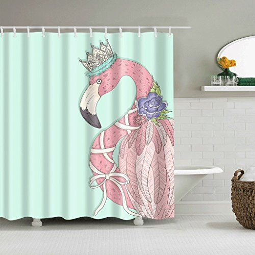WTL Rideaux de douche Rideaux de douche Creative Flamingo Pattern Waterproof Quick To Dry Matériaux de protection de l'environnement Crochet en métal Trou suspendu ( taille : 165*180cm )
