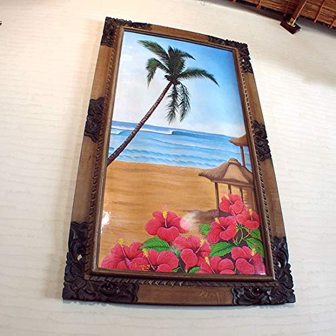 フェローシップ海峡ひもが欲しいバリ絵画?椰子アート:ハイビスカス咲き乱れビーチ!東屋もあって雰囲気バッチリねん