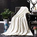Phoeni Kuscheldecke Sommerdecke Luftige Sofa-Decke Flauschige Kuscheldecke Hochwertige Wohndecke Super Weiche Fleecedecke als Sofaüberwurf Tagesdecke oder Wohnzimmerdecke Nicht-gerade Weiss 1.5X2M