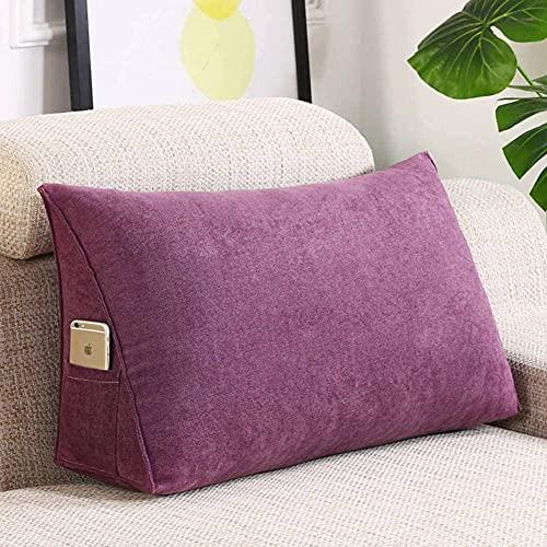 Almohada de respaldo lumbar para la lectura, cojín desmontable para sofá en la parte posterior, respaldo sólido, cojín de respaldo de lectura, cojín de sofá (color: A, tamaño: 70 x 35 x 20 cm)