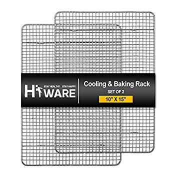Hiware 2-Pack Cooling Racks for Baking - 10  x 15  - Stainless Steel Wire Cookie Rack Fits Jelly Roll Sheet Pan Oven Safe for Cooking Roasting Grilling