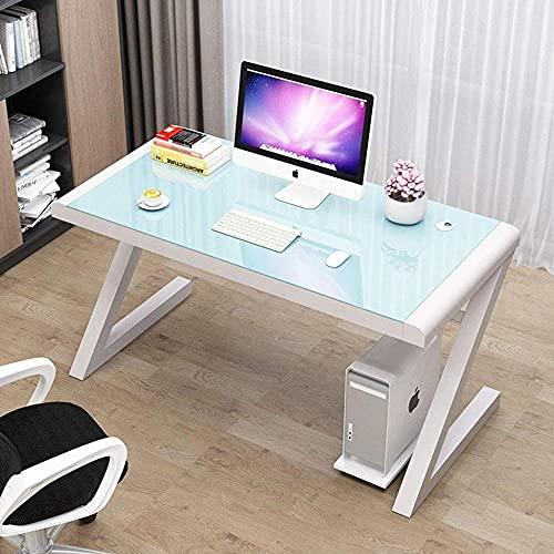 Mesa de cristal templado para el hogar, oficina, oficina, oficina, estación de trabajo en forma de Z, simple estudio, hogar, oficina, PC, portátil, escritorio B 50 x 50 x 75 cm