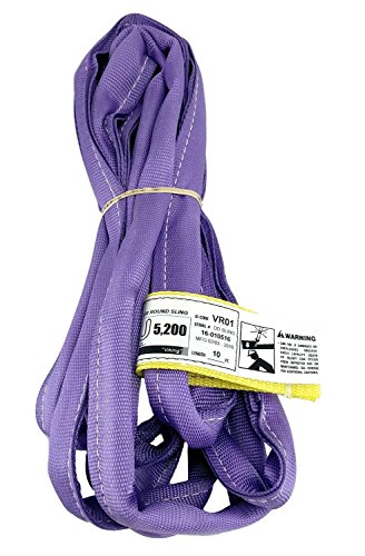 USA Made VR1 X 10' Purple Slings 4'-12' Lengths in Listing, Double PLY Cover Endless Round Poly Lifting Slings, 2,600 lbs Vertical, 2,080 lbs Choker, 5,200 lbs Basket (USA Polyester) (10 FT)