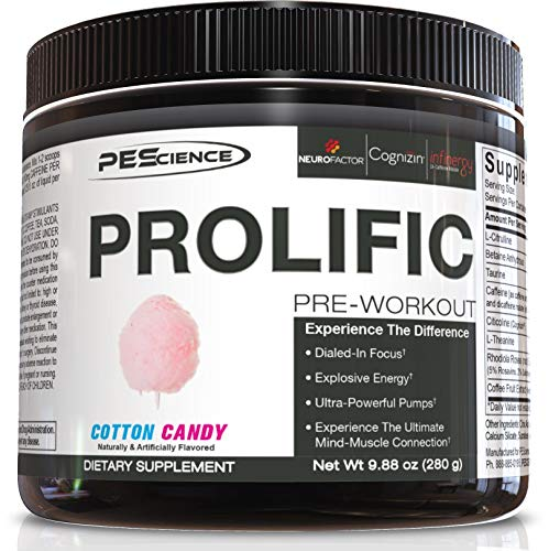 PEScience Prolific Pre Workout, Cotton Candy, 40 Scoop, Energy Supplement with Nitric Oxide