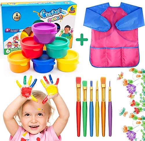 AYUQI Washable Kid#039s Finger Paints with 6 Brushes and Waterproof Art SmockNonToxic amp Child FriendlyChildren Finger Painting Drawing Toys Painting Tool Birthday Gifts for Kindergarten School Home