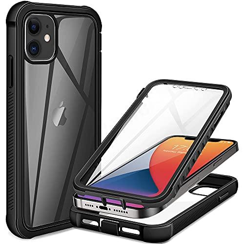 XYSCFF 360 Protector de pantalla de cuerpo completo transparente para iPhone 12 Pro Max Mini 11 Xs X Xr 6 6S 7 8 Plus SE2 cubierta de teléfono a prueba de golpes (material: para 12 Pro (6.1))