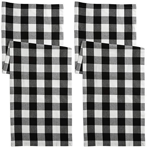 Asquare 2er Set Tischläufer, schwarz-weiß karierte Tischwäsche, 40 x 140 cm, 220g/m²