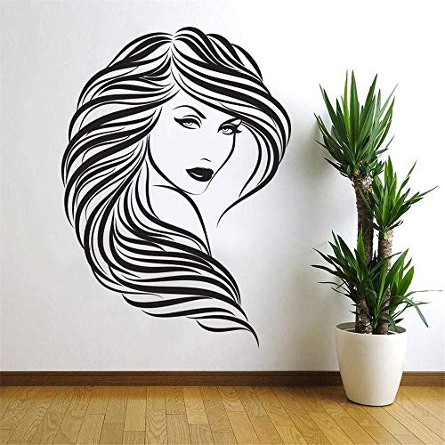 Creative,Wall Stickers,Wall Sticker PVC Self-Adhesive Pop Beauty Hair Salon Wall Sticker Woman Face Mural Room Wall Sticker