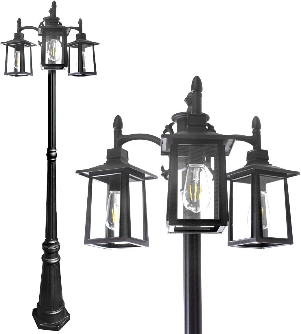 Led Street Light Max 54% OFF Triple-Head Post 2700K 1100lumens shop Outdoor