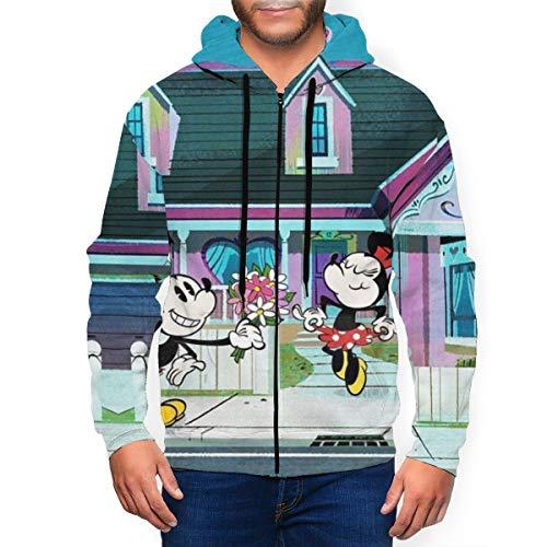 Mickey Minnie Mouse - Sudadera con capucha para hombre con bolsillo con cremallera