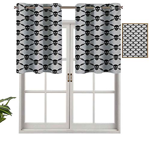 Hiiiman Cortinas opacas con ojales, cenefa de Halloween con diseño de calaveras negras espeluznantes con huesos de esqueleto, juego de 2, cortinas de cocina de 137 x 91 cm para sala de estar