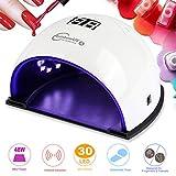 Lampara UV/LED Uñas Profesional 48W Secador de Uñas para Manicura/Pedicura con 3 Temporizador,...